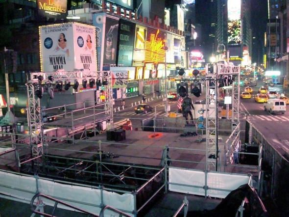Stage construction at New Year's Eve