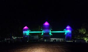 Pagoda entrance lit up at night