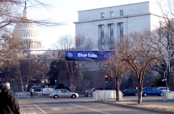 A banner bridge from the 56th Inauguration