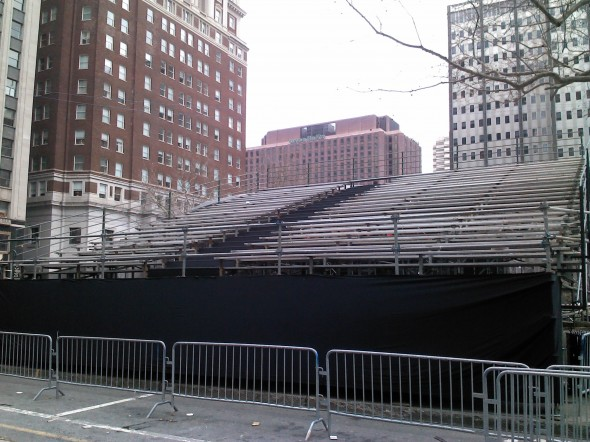 Finished bleacher system for the Mummer's Parade