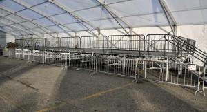 Bike rack barricade with a VIP riser