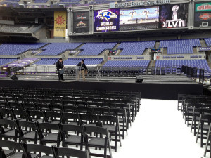 The stage inside of the M&T Bank Stadium in Baltimore, MD