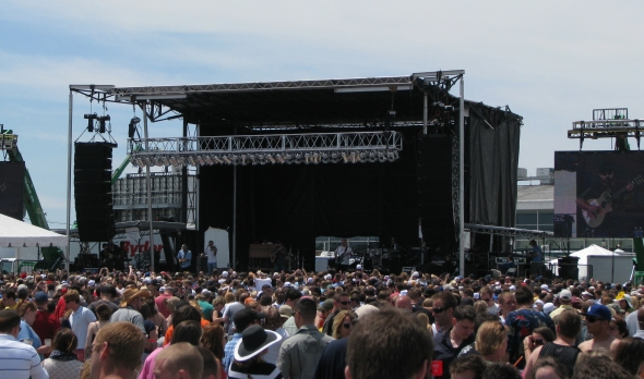 Black vinyl is used as weather protection on our mobile stages