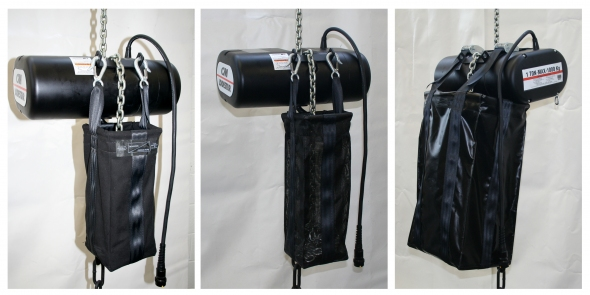 Chain bags made of (L - R) cordura, mesh and vinyl