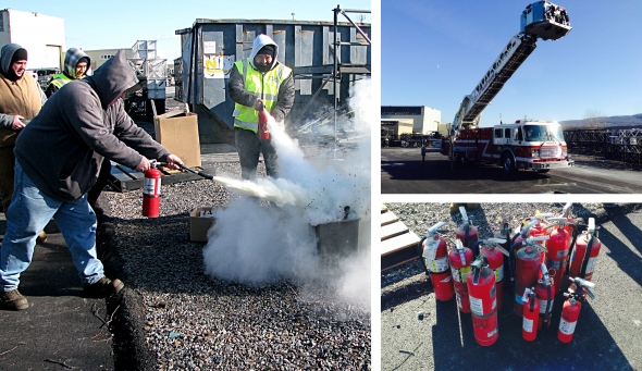 Getting a hands-on demonstration of fire extinguisher use and safety