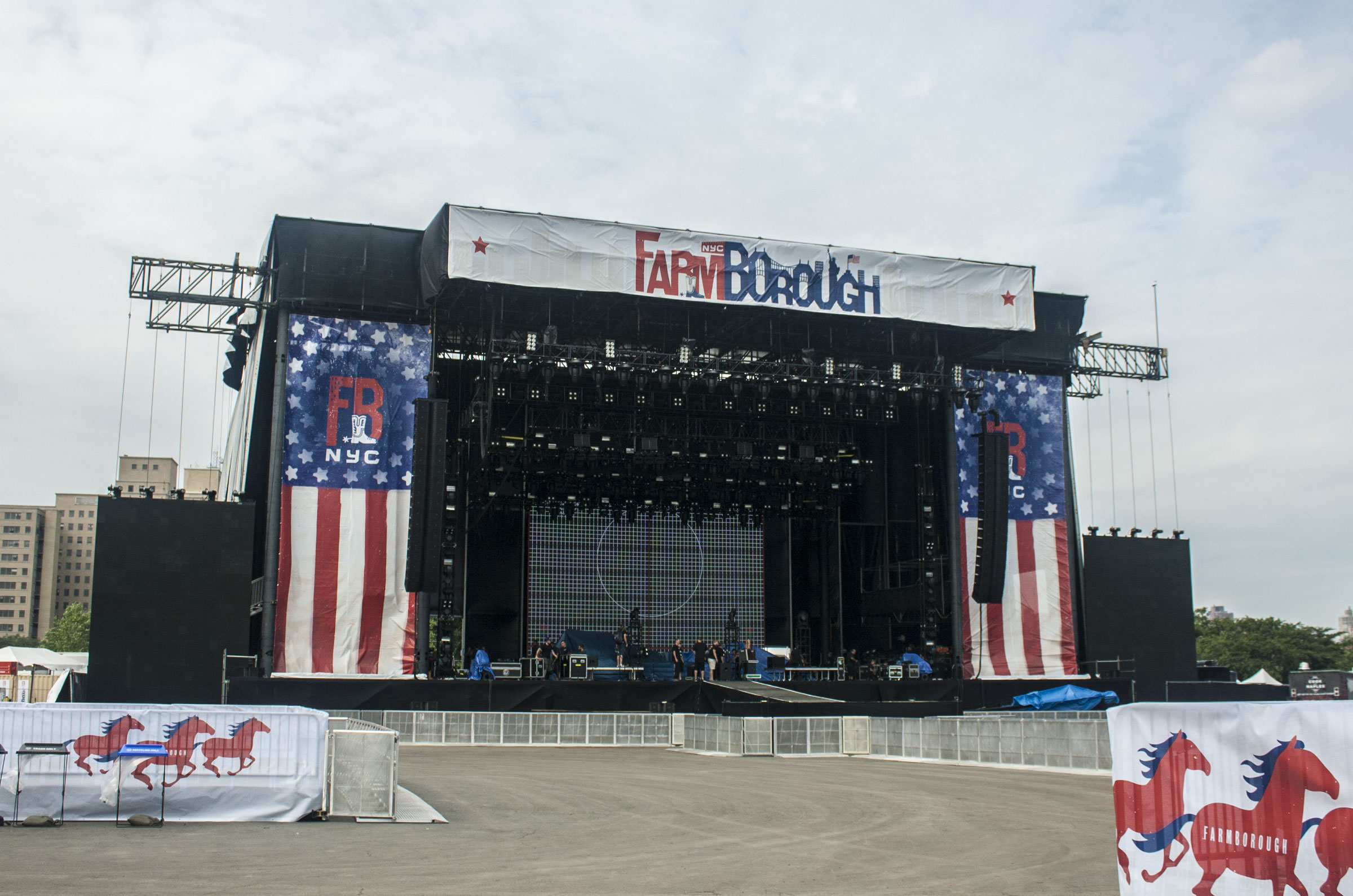 Main Stage with branded softgoods hung